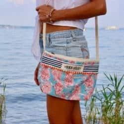Handgefertigte Umhängetaschen-Strandtasche mit Flamingos