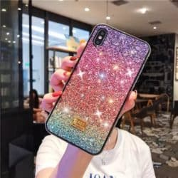 iPhone 12 / 12 Pro Diamant Handyhülle purple red blue